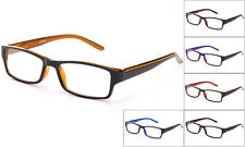 Stylish Two Tone Sleek Spring Temple Fashion Clear Lens Glasses w/ Temple Accent