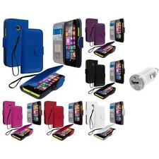 For Nokia Lumia 630 635 Wallet Flip Pouch Case Cover Accessory USB Charger