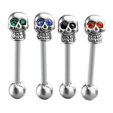 14G Stainless Steel CZ Gem Skull Silvery Tongue Barbell Ring Bar  Piercing HUUS