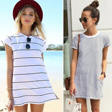 New Women Casual Mini Dress Short Sleeve Striped Loose Long Tops Blouse T-Shirt