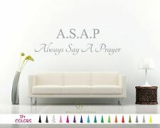 ASAP Always Say A Prayer Inspirational Removable Wall Quote Vinyl Decal Bible