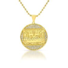 Gold Mini Last Supper Jesus Medallion Iced Out Pendant Chain