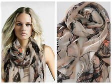 Fashion Women Begonia Flower Warm Soft Neck Scarf Shawl Wrap Stole Long Chiffon_
