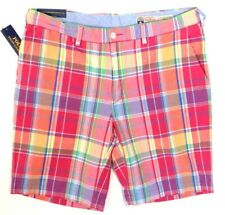 Polo Ralph Lauren Classic Fit Pink India Madras Plaid Flat Front Shorts Mens NWT
