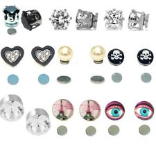 Black Silver Magnetic Stud Earrings Clip Heart Skull Crystal Girls Womens Boys
