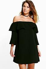 Boohoo Womens Millie Ruffle Cold Shoulder Shift Dress