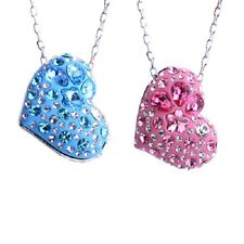 PINK or BLUE Imported Austrian Crystal Necklace Heart Shaped Pendant SZ15-3076