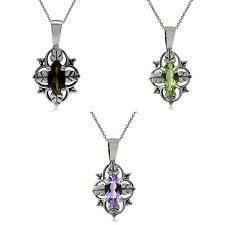 "925 Sterling Silver Gemstone Vintage Leaf Inspired Pendant w/18"" Chain Necklace"