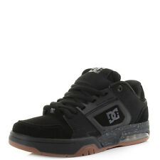 Mens DC Rival Black Leather Gum Skate Trainers Shoes Size