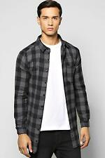 Boohoo Mens Long Sleeve Buffalo Check Longline Shirt