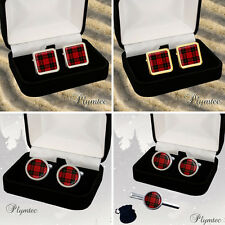 MACQUEEN SCOTTISH CLAN TARTAN MEN'S CUFFLINKS + GIFT BOX ENGRAVING