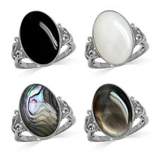 Inlay Shell or Onyx 925 Sterling Silver Victorian Inspired Ring