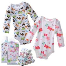 NWT 5 Pack Baby Boy Girls Bodysuits Long Sleeve Romper Clothes Cotton V26 0-24M
