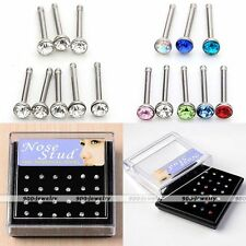 24x Lot 20G Stainless Steel Crystal Bar Nose Ring Stud Body Piercing Wholesale