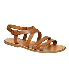 Handmade men's tan genuine leather flats sandals shoes Made in Italy