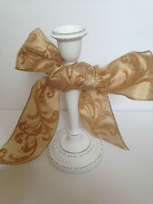 CLASSY SWIRL Pale Gold Flock Velvet 63mm - Luxury Wire Edge Ribbon LAST FEW