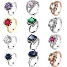 Jewelry Accessory Finger Rings Silver/Gold Filled Women Size 6/7/8/9/10
