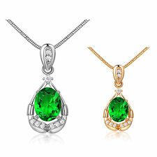 MODOU Oval Green Emerald White Topaz Pendant Necklace 18K Gold Filled Chain 18""