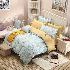 New Floral 100%Cotton Single Queen Bed Quilt Doona Duvet Cover Pillowcases Set