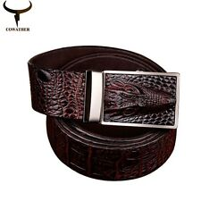 3 colors cow genuine leather belts for men alligator pattern automatic buckle me