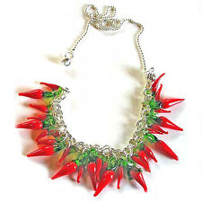 Wholesale 20-100X Red Pepper Chili Necklace Pendant Lampwork Murano Glass Craft