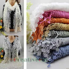 Stylish Vintage Cotton Floral Lace Funky Fun Tassel Mantilla Long Scarf Shawl