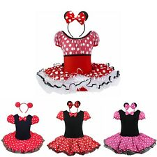 Minnie Mouse Kids Girls Dresses Costume Princess Party Fancy Dress + Headband