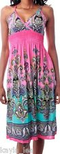 Pink/Aqua Paisley Smocked Empire Cami/Tank Summer Dress S
