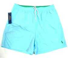 Polo Ralph Lauren Blue Nylon Brief Lined Swim Trunks Green Polo Pony Mens NWT