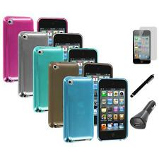 TPU Plain Rubber Jelly Case Cover+LCD+Charger+Pen for iPod Touch 4th Gen 4G 4