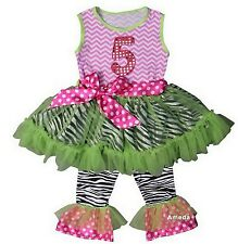 Girls 5th Birthday Chevron Pink Lime Zebra Ruffled Top Pants Set Outfit