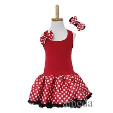 Halloween Red White Polka Dots Minnie Mouse Tutu Pettiskirt Birthday Party Dress