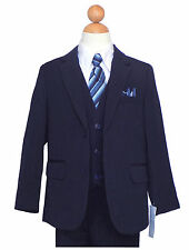 BOYS RECITAL,GRADUATION, PINSTRIPE SUIT, NAVY BLUE/WHITE Size: 5 to 16