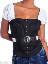 Black/White Belted Button Front Corset Cap Sleeve Top