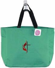 Methodist Cross & Fire + Free Lettering Custom Embroidered Essential Tote Bag