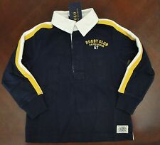 NWT Ralph Lauren Boys L/S Navy Cotton Jersey Rugby Shirt Rugby Club 2t 3t 4t NEW