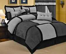 Patchwork Gray Black Micro Suede Comforter Set  7 Piece All Sizes LinenPlus ONLY