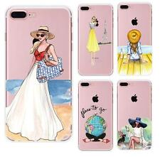 Ultrathin Fashion travel Girl TPU Soft Case Cover Back For Phone 7 5s 6 6s Plus
