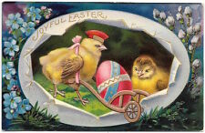 Easter Postcard Chicks with Decorated Colored Egg~97712