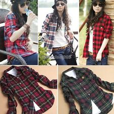 Women Ladies Plaid Checked Long Sleeve Casual Loose T shirt Tops Blouse ED