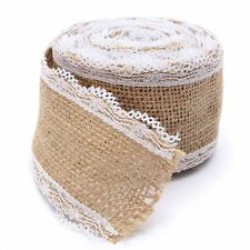 1/2 x 5M Natural Burlap Jute Hessian Ribbon With Lace Trim Tape Wedding Decor UK