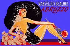 ABRUZZO ITALY MARVELOUS BEACHES FASHION GIRL BIG HAT TRAVEL VINTAGE POSTER REPRO