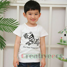 Fashion Kids Zebra Cloth Toddlers Boys Girls Animal Cotton Letters Tops T-Shirt