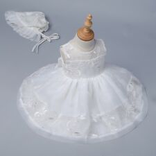 2017 Baby Girls Embroidered Organza White Dress Christening Baptism Bonnet