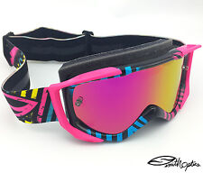 SMITH FUEL V2 SWEAT-X MOTOCROSS MX GOGGLES PASTRANA NEON with PINK MIRRORED LENS