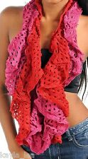 *2-Tone or Solid, 25 Colors- As Selected* Crochet Wing Ruffle Infinity Scarf