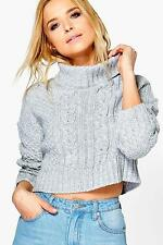Boohoo Womens Phoebe Crop Cable Knit Jumper