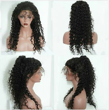 Glueless 100% Brazilian Human Hair Lace Front Wig Long Wave Curly Hair Full Lace