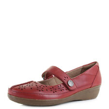 Womens Clarks Everlay Bai Red Flat Leather Mary Jane Shoes - D fit Size