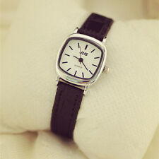 Korean Simple Style Women  Leather Band Watch Slim Square Dial Quartz WristWatch